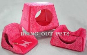 3 In 1 Neon Pink Velour Sofa Bed House
