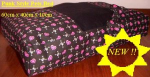 Punk Skull With Hearts Cushion dog cat Bed