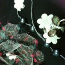 BROOCH-black flower with  pearl beads.