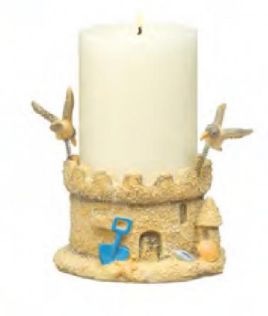 Palm Island Home Sand Castle Pillar Candle Holder boxed
