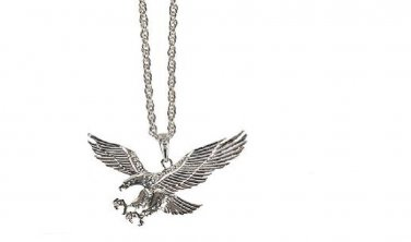 Eagle Charm on 20 inch Silver Plated Necklace