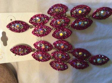 Raspberry pink chandelier earrings