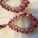 pink teardrop shaped crystals earrings