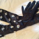 Black rhinestone gloves