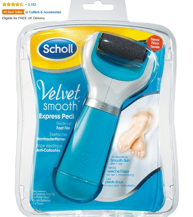 Scholl Velvet Smooth Pedi Electric Hard Skin Remover with Three Replacement Rollers -FREE SHIPPING -