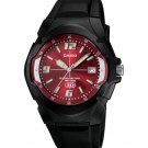 CASIO MW600F-4A MENS 100M RED DIAL BLACK HD ANALOG SPORTS WATCH 10 YEAR BATTERY