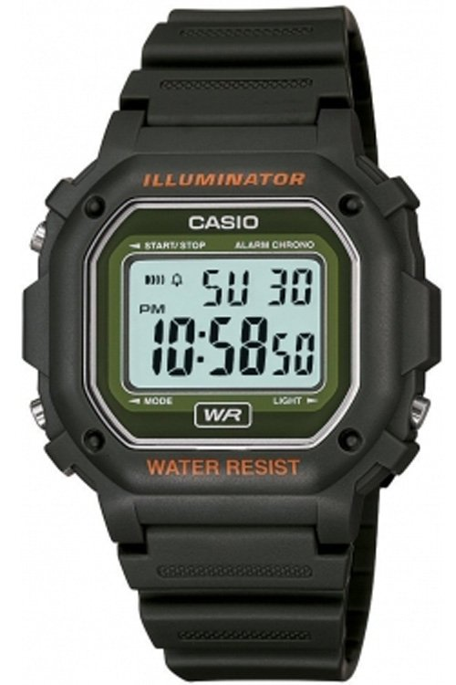 CASIO F108WH-3A MENS BLACK/GREEN CLASSIC DIGITAL LCD SPORTS WATCH LED STOPWATCH