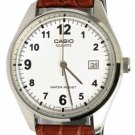 CASIO MTP1175E-7B MENS BROWN LEATHER CASUAL DRESS WATCH WHITE DIAL NEW