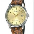 CASIO MTP1175E-9B MENS BROWN LEATHER CASUAL DRESS WATCH GOLD DIAL NEW