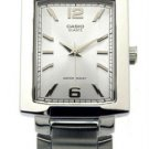 CASIO MTP1233D-7AV MENS FACETED-DIAL STAINLESS STEEL DRESS WATCH WHITE DIAL