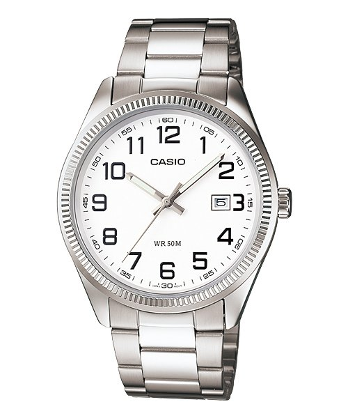 CASIO MTP1302D-7BV MENS 50M MODERN STAINLESS STEEL DRESS WATCH WHITE DIAL