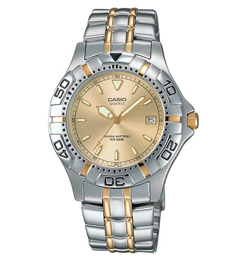 CASIO MTD1045G-9A MENS TWO TONE GOLD STAINLESS STEEL 100M DRESS WATCH ANALOG