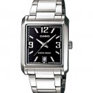 CASIO MTP1336D-1A MENS STAINLESS STEEL SQUARE MODERN DRESS WATCH BLACK DIAL