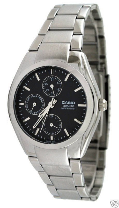 CASIO MTP1191A-1A MENS ANALOG MULTI FUNCTION 3- DIAL STAINLESS STEEL WATCH