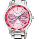 CASIO LTP1313D-4A LADIES PINK RIBBON FASHIONABLE STAINLESS STEEL DRESS WATCH NEW