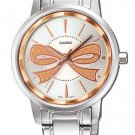 CASIO LTP1313D-7A2 LADIES ROSE RIBBON FASHIONABLE STAINLESS STEEL DRESS WATCH