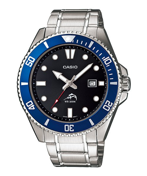 CASIO MDV106D-1A2V MENS 200M DIVER STAINLESS STEEL WATCH BLACK DIAL BLUE BEZEL
