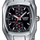 CASIO EDIFICE EF315D-1A MENS STAINLESS STEEL 3-DIAL BLACK DRESS WATCH 100M