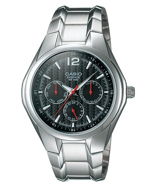 CASIO EF309D-1AV EDIFICE MENS BLACK DIAL STAINLESS STEEL DRESS WATCH 3-DIALS NEW