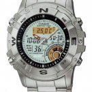 CASIO AMW704D-7A STAINLESS STEEL MENS MOON PHASE HUNTING TIMER THERMOMETER WATCH