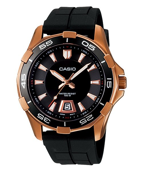 CASIO MTD1063-1A MENS 100M ANALOG DIVER SPORTS DRESS WATCH ION PLATED STEEL CASE