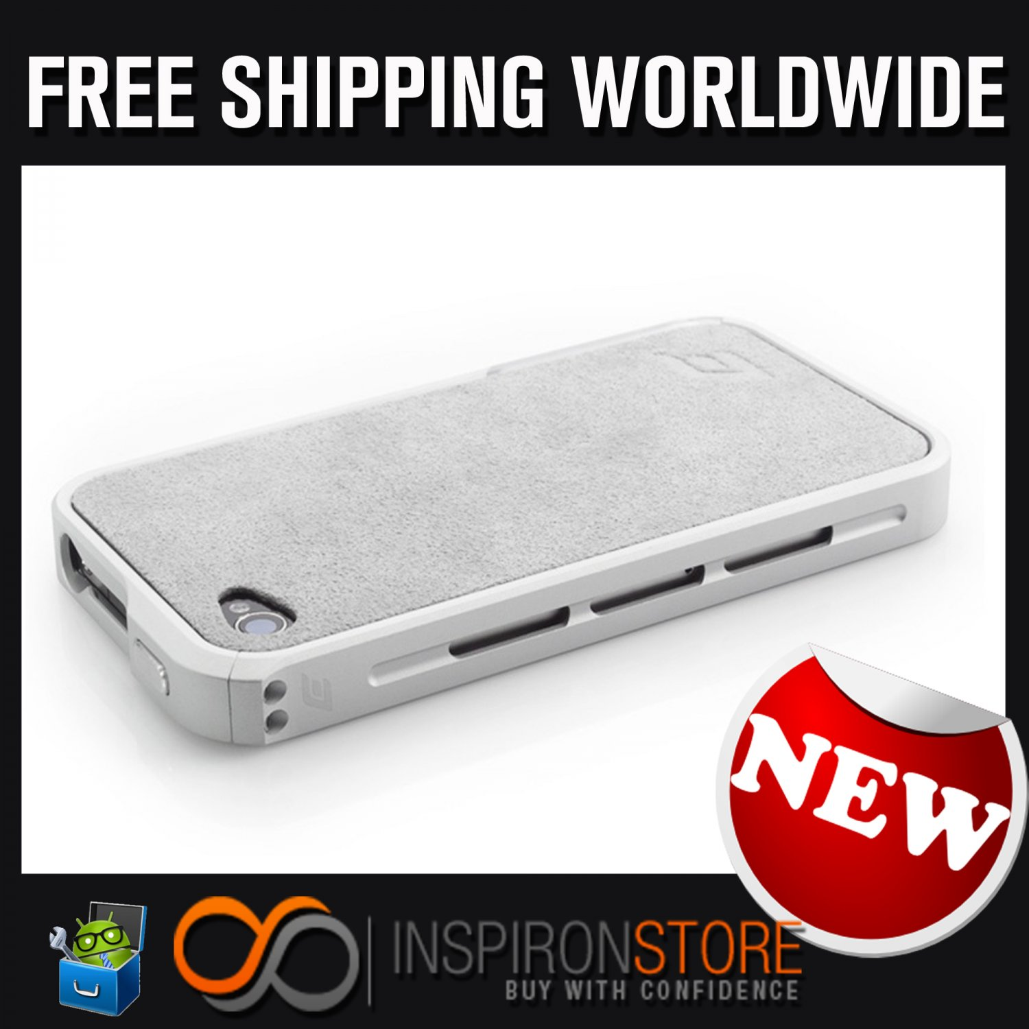 New INSPIRON Element Case Vapor Pro Chroma Silver Edition For Iphone 4/4s Free Shipping