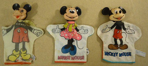 Vintage Disney Mickey Mouse Hand Puppets Qty 3