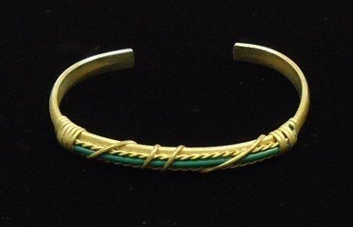 Cuff Bracelet Wire Wrapped Green