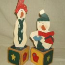 """Snowman Decoration 14"""" and 11"""" Tall Wood Painted"""