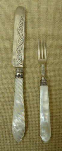 Sterling Silver Knife and Fork with Mother of Pearl Han