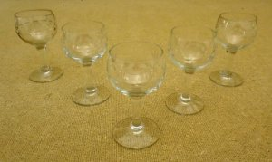 Etched Crystal Miniature Goblets (2 in. D. x 4 in. H.)