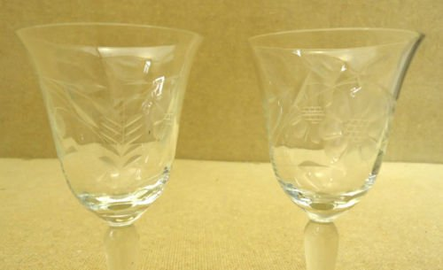 Pair of Etched Crystal Goblets