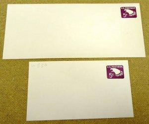 U550 5c U.S. Postage Envelope lot of 2