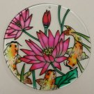Painted Glass Sun Catcher Waterlily Koi Qty 6 Window Hang 2 Holes CL33