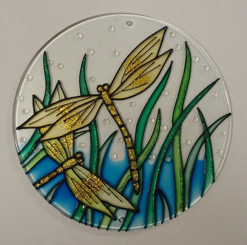 Painted Glass Sun Catcher Dragonflys Qty 7 Window Hang 2 Holes CL20Y