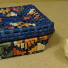 Handmade Colorful Woven Square Basket 8 1/2in x 8 1/2in x 4in Dried Grass
