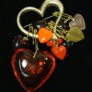 Heart Pin 4in x 2in x 1/2in Plastic Base Metal Sterling Silver