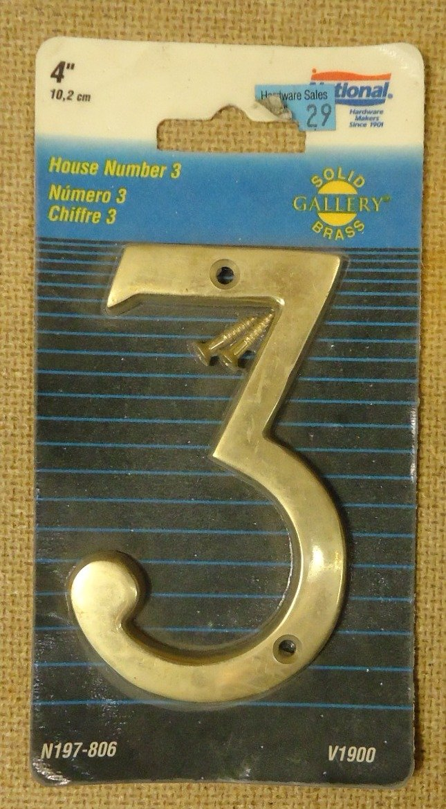 National N197-806 V1900 House Number 3 Solid Brass 4in