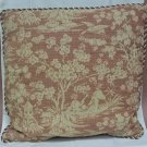 Custom Made Throw Pillow Red Brocade 19in x 18in  * Fabric