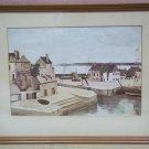 Custom Made Harbor Scene Picture Framed 11 1/2 x 7 1/2  Vintage Paper