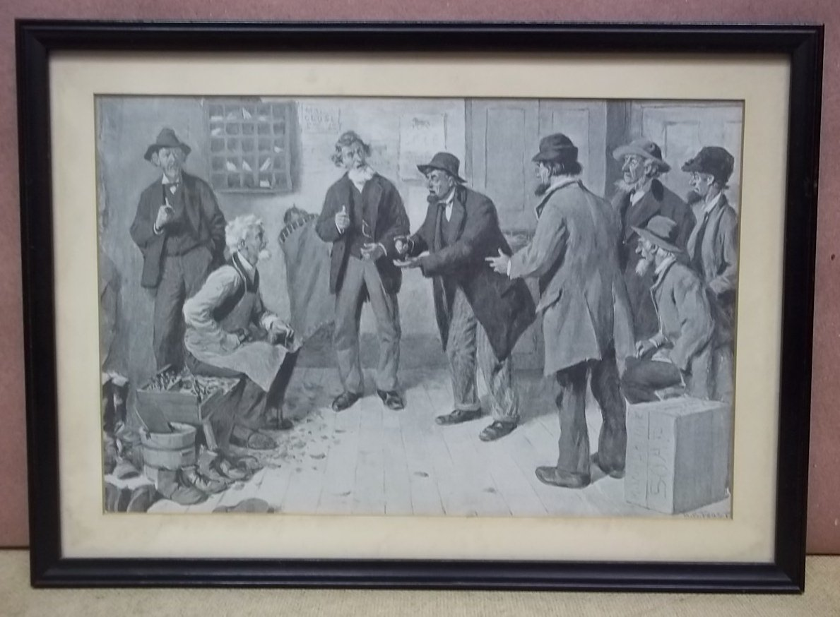 Custom Made Picture of Men Talking by A. B. Frost 12 1/2in x 8in  Vintage Paper