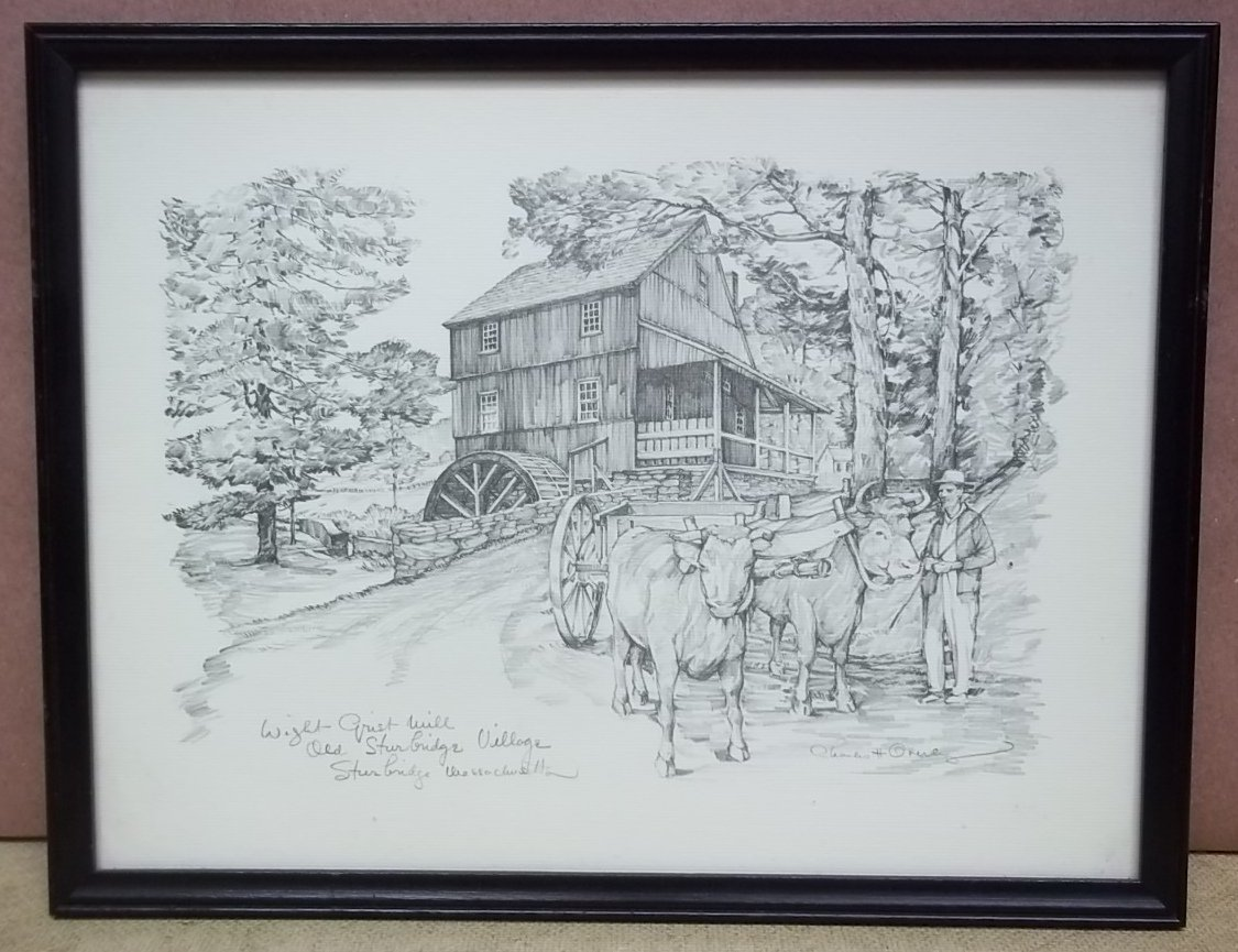 """Custom Made """"""""Wight Grist Mill"""""""" Picture Charles H. Overly 11 1/2in x 7 1/2in  Vintage Paper"""