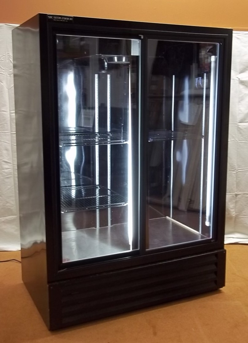 SRC Refrigeration Sliding Door Refrigerator 75in x 52in x 32in FS52GDF * Metal Glass