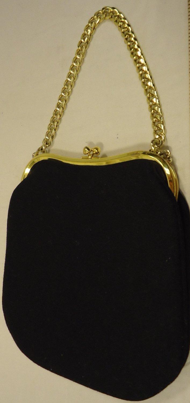 Generic Purse Felt Female Adult Clutch Black/Gold Solid 61-57gg
