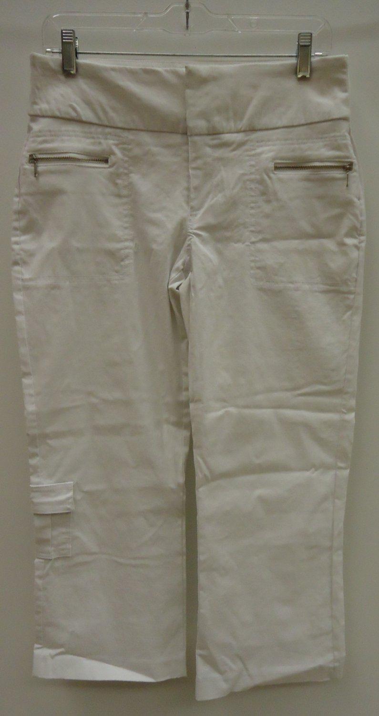 Rickis Capri Pants Rayon Female Adult 10 White Solid 012-13rr