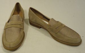 Calico Flat Loafers Shoes Leather Female Adult 7M Beige Solid/Woven 015-16ca