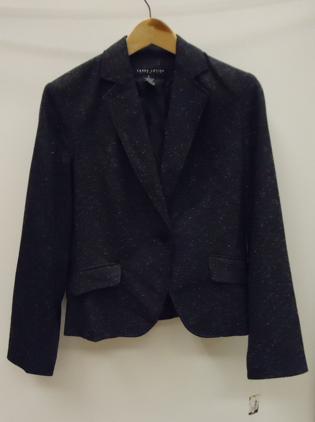 Larry Levine Coat Polyester Female Adult 8 Black Tweed 14-111ll