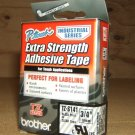 Brother P-Touch Extra Strength Adhesive Tape 3/4in Black on Clear TZ-S141 * Plastic *
