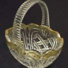 Designer Glass Basket 8in x 7in x 5in 11-113gb Vintage Glass Plastic Handle