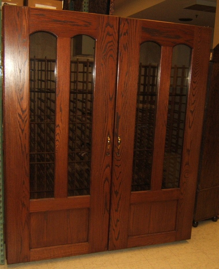 Custom Made Wine Cooler 700 Bottles 85in x 73in x 29in bk544d Solid Oak Glass